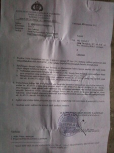 surat pemberitahuan polisi